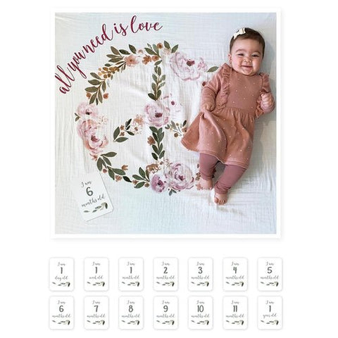 Lulujo | Baby's First Year™ Meilenstein-Decke inkl. Karten Set | All You need Is Love