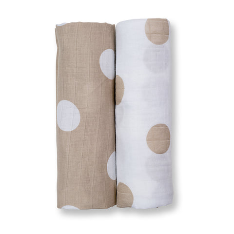 Lulujo Muslin Baby Swaddle Mulltuch 2er Set (modern me collection) - Cream Polka Dots