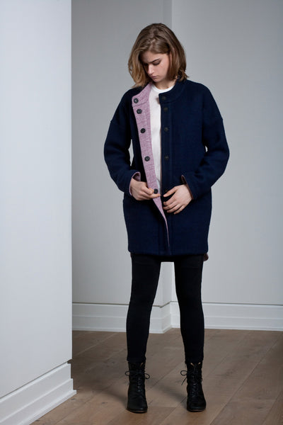 The Katia Jacket - Navy/Rose Fleece