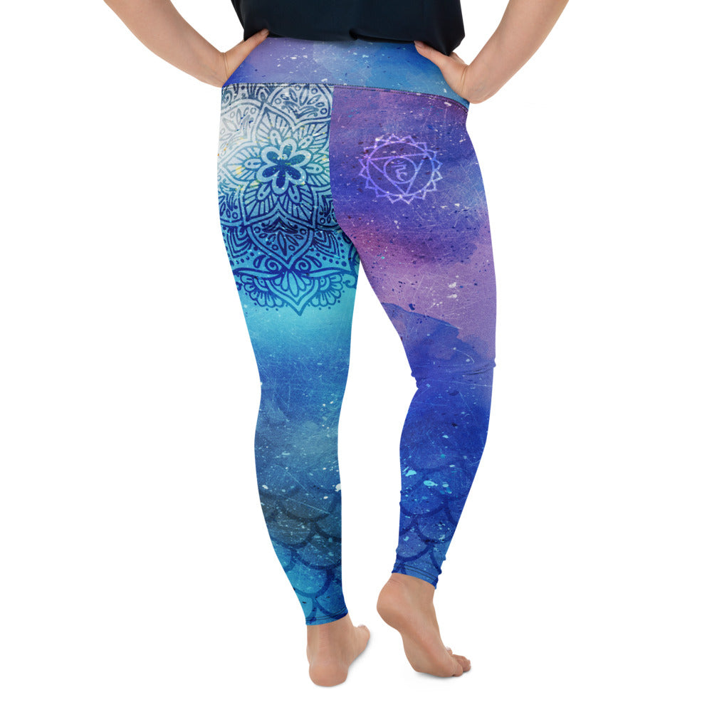 Cosmic Mermaid Throat Chakra Curvy Leggings