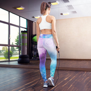 Celestial Mermaid Throat Chakra Mandala Yoga Leggings