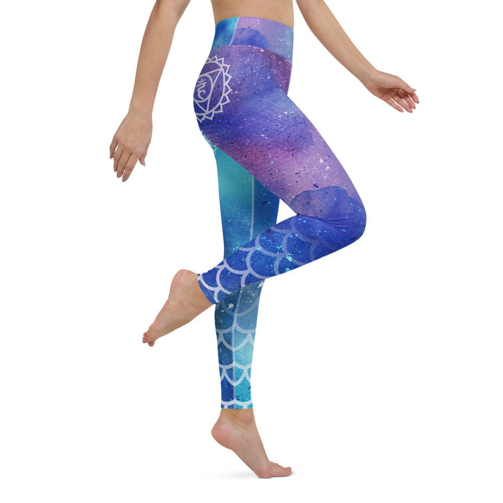 Galactic Ocean Throat Chakra Mandala Yoga Leggings