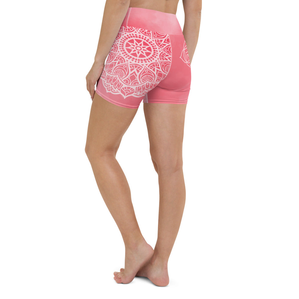 Rose Quartz Snake Root Chakra Mandala  Hot Yoga Shorts