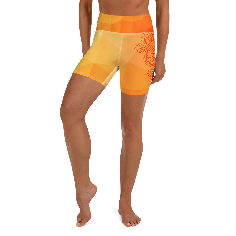 Flame Tiger Sacral Mandala Yoga Shorts