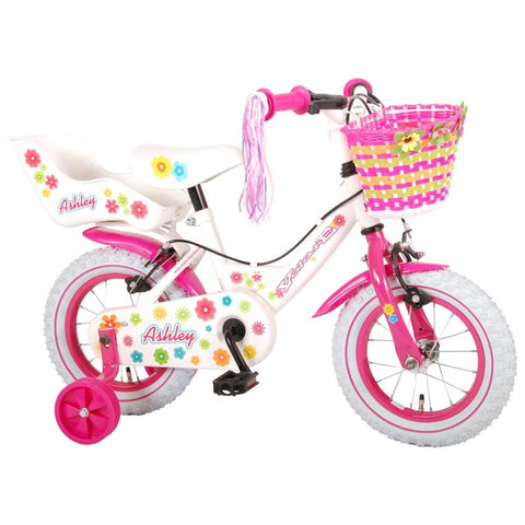 Volare Ashley Meisjesfiets 12 inch Wit – 2 handremmen