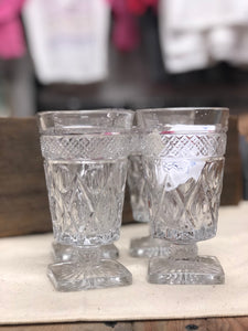 Vintage Carved Glasses - Set of 4