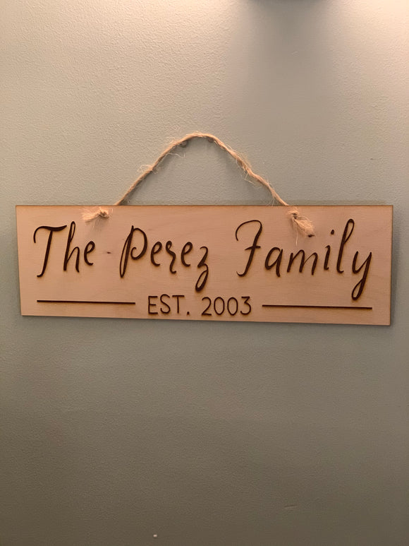 Custom Wooden Engraved Family Name Sign