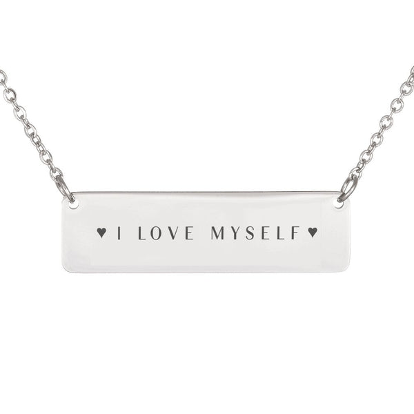 I Love Myself with Hearts - Horizontal Necklace