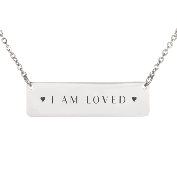 I Am Loved Horizontal Necklace With Hearts