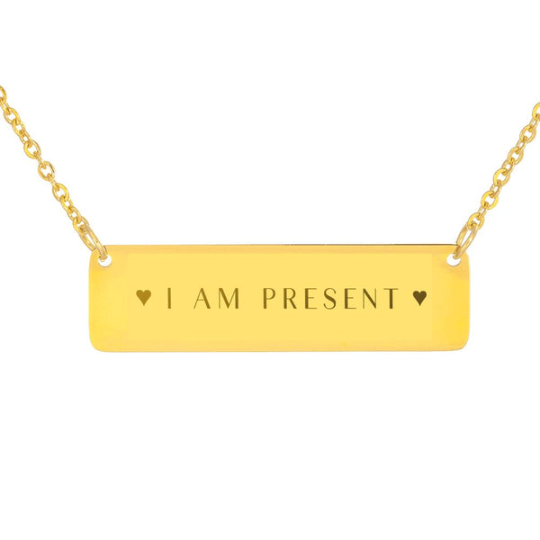 I Am Present Horizontal Necklace With Hearts