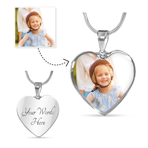 Personalize Your Heart Pendant - Upload Your Photo and Engrave Your Message!