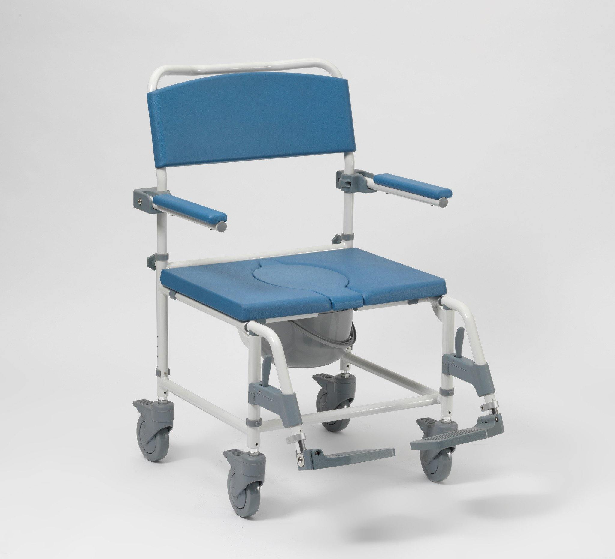 Aston Heavy Duty Aluminium Shower/Commode Chair 4 Brake Castors, Height Adjustable - Mobility2you - discount wholesale prices - from Drive DeVilbiss Healthcare