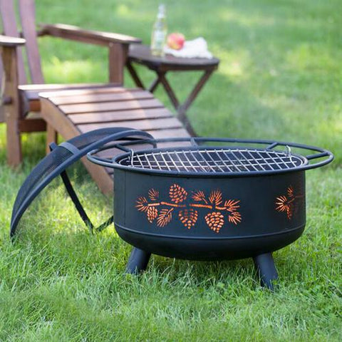 Solikefire 29.5-in Pine Cone Carved Steel Wood Burning Fire Pit