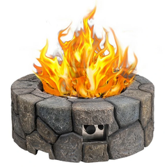 Solikefire 29.5-in Round Gray Outdoor Concrete Propane Fire Pit