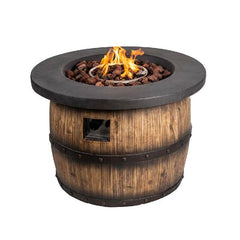 Solikefire 34.5-in Wooden Barrel Shape Gray Tabletop Propane Gas Fire Pit Table