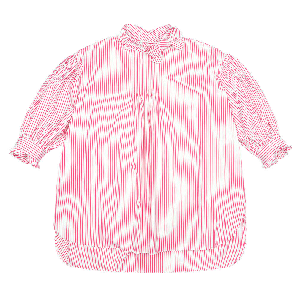 Pink & White Striped Poplin Bow Tunic