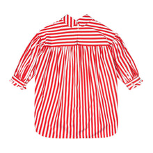 Load image into Gallery viewer, Red & White Striped Poplin Bow Tunic