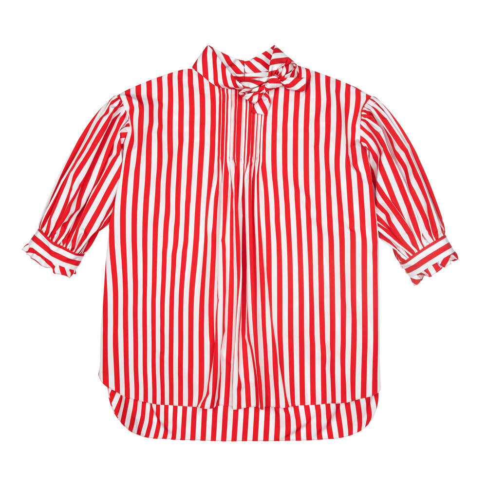 Red & White Striped Poplin Bow Tunic