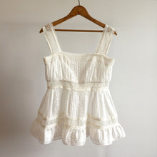 Load image into Gallery viewer, Broderie Anglaise Strappy Peplum Top