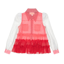 Load image into Gallery viewer, Embellished Pink & Red Cotton Tulle Western Shirt
