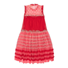 Load image into Gallery viewer, Embellished Pink & Red Cotton Tulle Striped Midi Dress
