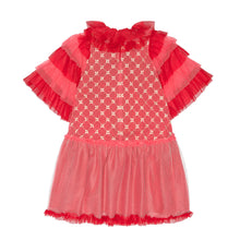 Load image into Gallery viewer, Embellished Pink & Red Cotton Tulle Pierrot Trapeze Dress
