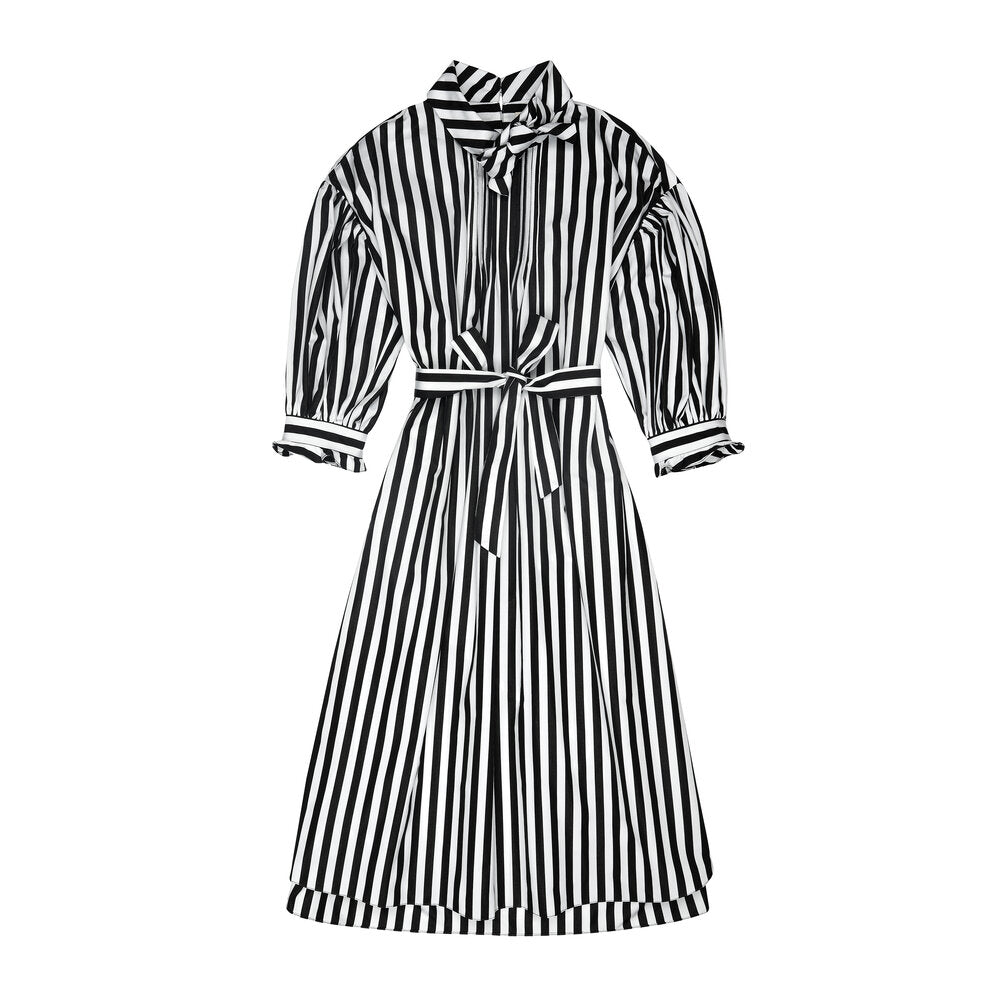 Black & White Striped Poplin Bow Dress
