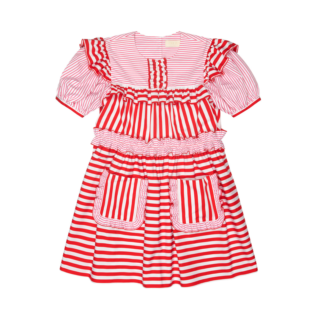 Pink & Red Stripe Poplin Puff Sleeve Mini Dress