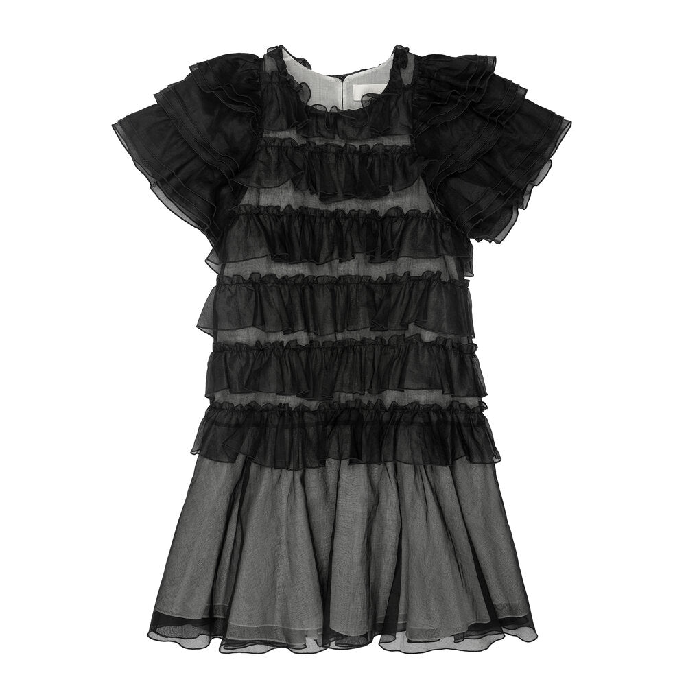Black Organdy Ruffle Layered Dress
