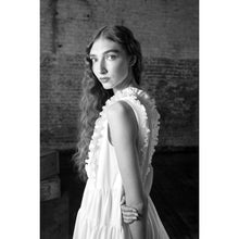 Load image into Gallery viewer, White Pintuck Ruffle Flared Dress