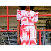 Load image into Gallery viewer, Pink & Red Stripe Poplin Puff Sleeve Mini Dress