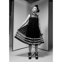 Load image into Gallery viewer, Black Cotton Tulle Striped Midi Dress