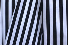 Load image into Gallery viewer, Black & White Striped Poplin Bow Dress