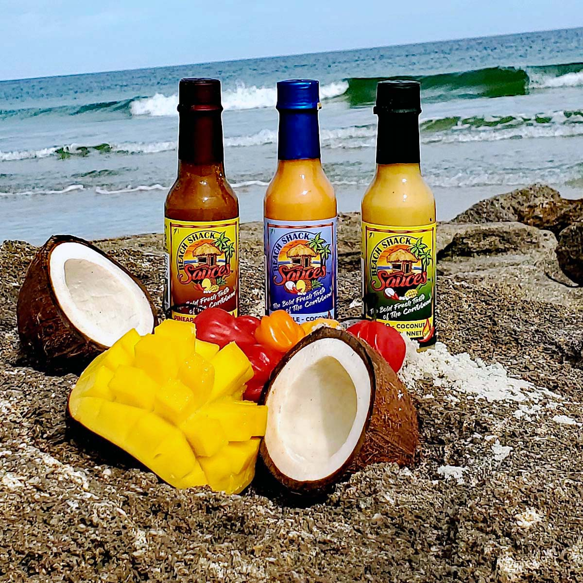 Amazing Caribbean Hot Sauce, Pineapple Coconut Habanero, Mango coconut scotch bonnet, Pineapple Mango Habanero