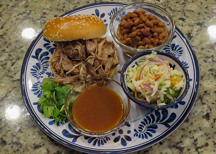 Recipe for Beach Shack Pulled Pork with Pineapple Mango Habanero Sauce.