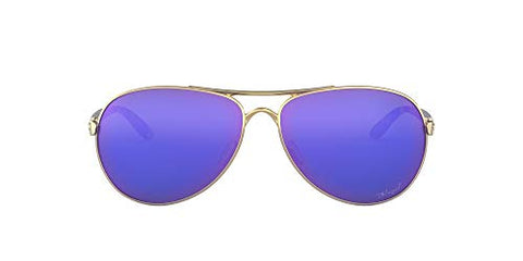 Oakley Women's Feedback Metal Sunglasses, Polished Gold/Violet Iridium Polarized