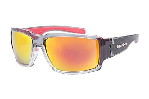 Bomber Boogie, 2-Tone Crystal/Smoke w/ Red Mirror Sunglasses
