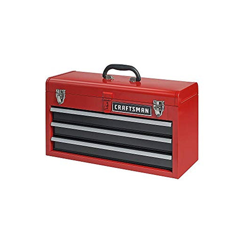 Craftsman 3-Drawer Metal Portable Chest Toolbox, Red