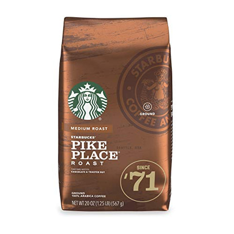 Starbuck's Pike Place Roast, Medium Roast Ground Coffee - 1 Bag (20 oz.)
