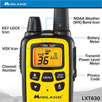 Midland LXT630VP3, 36ch, 30 Mile Range, NOAA, Two-Way Radio Pair, Yellow/Black