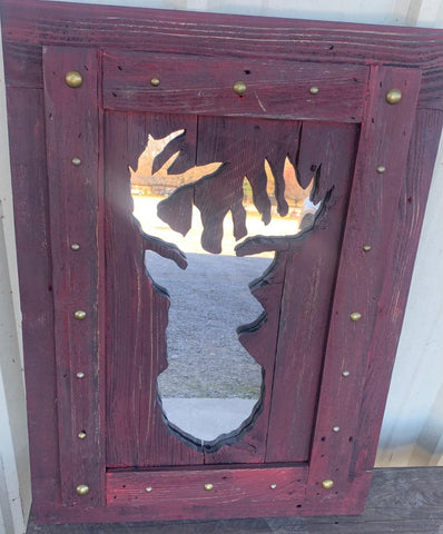 Solid wood Deer frame with mirror