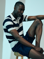 Knitted Polo Short Sleeve Tee - Navy Stripe