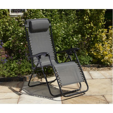 All Weather Textaline Garden Relaxer Chair Grey