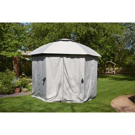 Big Hexagon 3.5m x 3.5m Gazebo Grey Curtain set