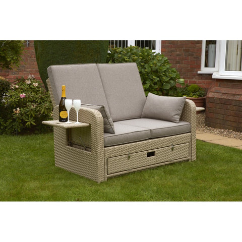 Amiens Rattan Twin Sun Lounger Bed Latte