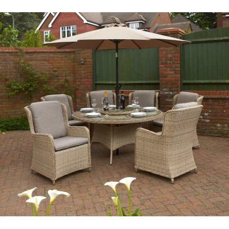 Vouvant Rattan Round 1.5mTable Dining Set 6 chairs Latte
