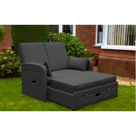 Amiens Rattan Twin Sun Lounger Bed Charcoal