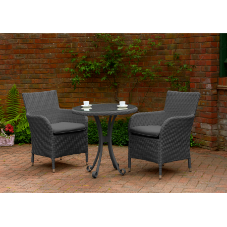 Colmar Rattan Tea for Two Furniture Set Charcoal