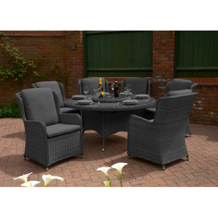 Vouvant Rattan Round 1.5mTable Dining Set 6 chairs Charcoal