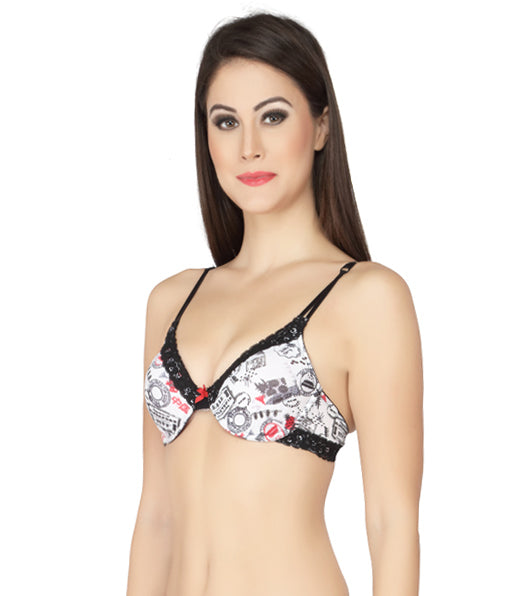 Medium Coverage Printed Non-Padded Wired Bra with Trim Lace - Stamps